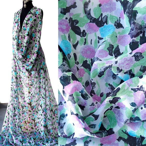 4d8f769d2e7c2 silk chiffon print fabric small floral print greens blues multi color  elegant romantic kaftan kimono evening 140cm wide Italy Sarli