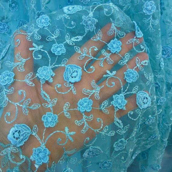 flores 3d de la tela de encaje azul turquesa tul bordado | Etsy