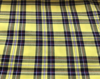 "Yellow and  Black tartan fabric Yellow and Black plaid fabric MacLeod of Lewis, yellow and black check fabric polyester tartan  150cm 60"""