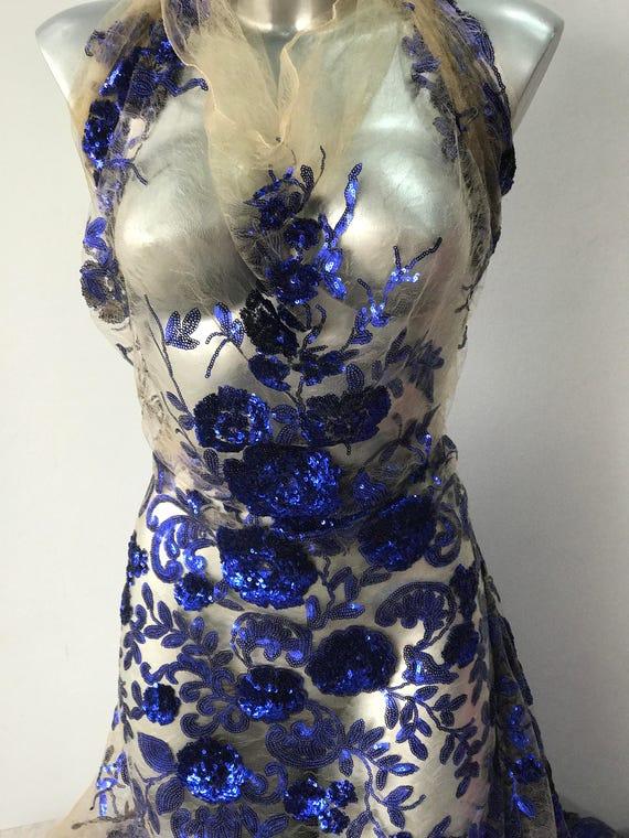 desnudo tul de encaje azul cobalto tela bordada de lentejuelas | Etsy