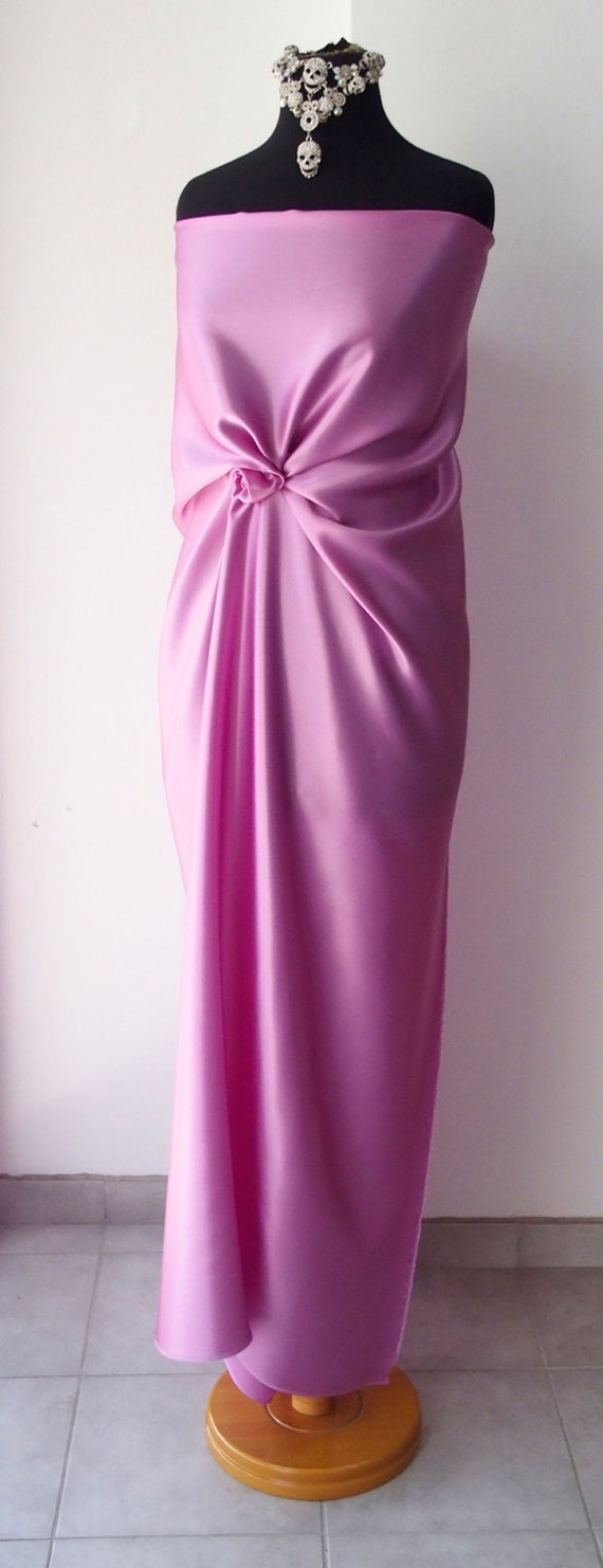tela de raso color rosa lila puro seda satén medio peso 85g