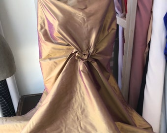 "Gold purple iridescent 100% dupioni silk fabric yardage By the Meter 54"" 139 cm wide raw silk Soie Sauvage"