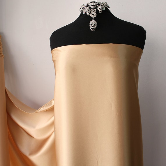 "STRETCH SATIN FABRIC BEIGE  52/"" BY THE YARD LINGERE..CLOTHING..SLEEP WEAR.."
