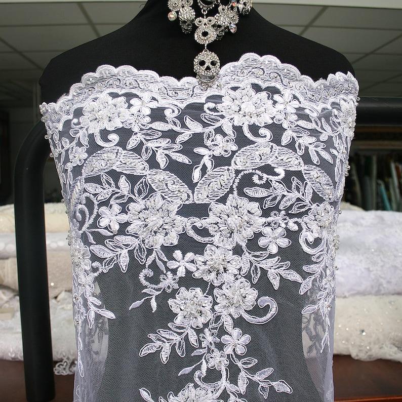 encaje de novia blanco tela tul bordado de flores perlas borde   etsy