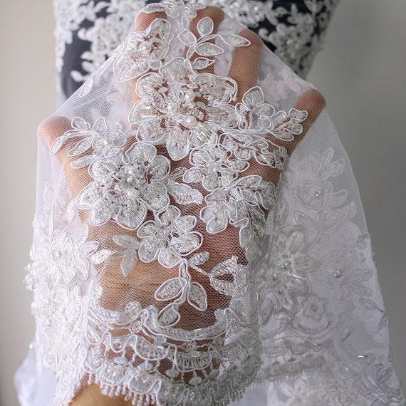Festoneado bordado costura manualidades Fino Blanco de encaje de corte X 2 metros