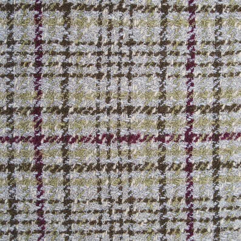 boucle tweed check wool fabric olive green burgundy high quality multi color textured fancy wool fabric suiting jacketing Dormeuil