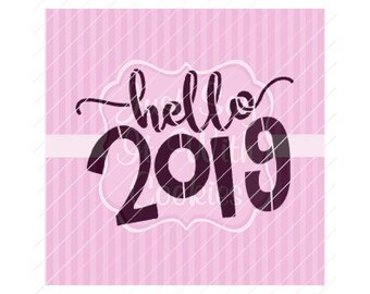 "Hello 2019 New Year Cookie Stencil 5.5 x 5.5"" Stencil"