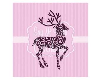 SC3616 Reindeer Pendant Charm Antique Silver Tone Inset Rhinestones So Festive