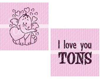 5486186c84 I Love You TONS Valentine Elephant PYO Cookie Stencils 5.5