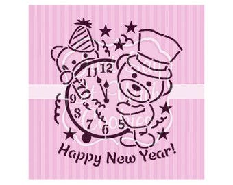 "Happy New Year Bears PYO Cookie STencil 5.5 x 5.5"" Stencil"