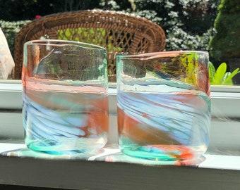 Glass Blown Swirly Watermelon Drinking Glass