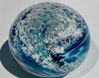 Custom Made One of a Kind Blue Infinity Wave Art Glass Memorial Paperweight