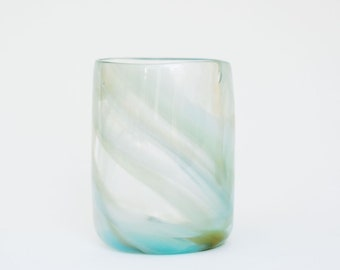 Glass Blown Tie-Dyed Seaside Drinking Glass