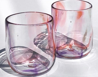 Glass Blown Swirly Salmon, Purple, and White Drinking Glass