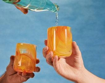 Glass Blown Tie-Dyed Fire Drinking Glass