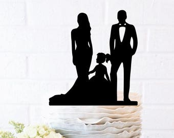Family Silhouette Wedding Cake Topper with children Bride and Groom Dancing Cake Topper little girl Family toddler dancing wedding family