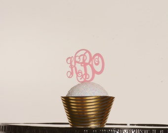 Monogram Cupcake Toppers Triple Monogram cupcake wedding cupcake birthday cupcake baby shower party monogram wedding monogram baby cake