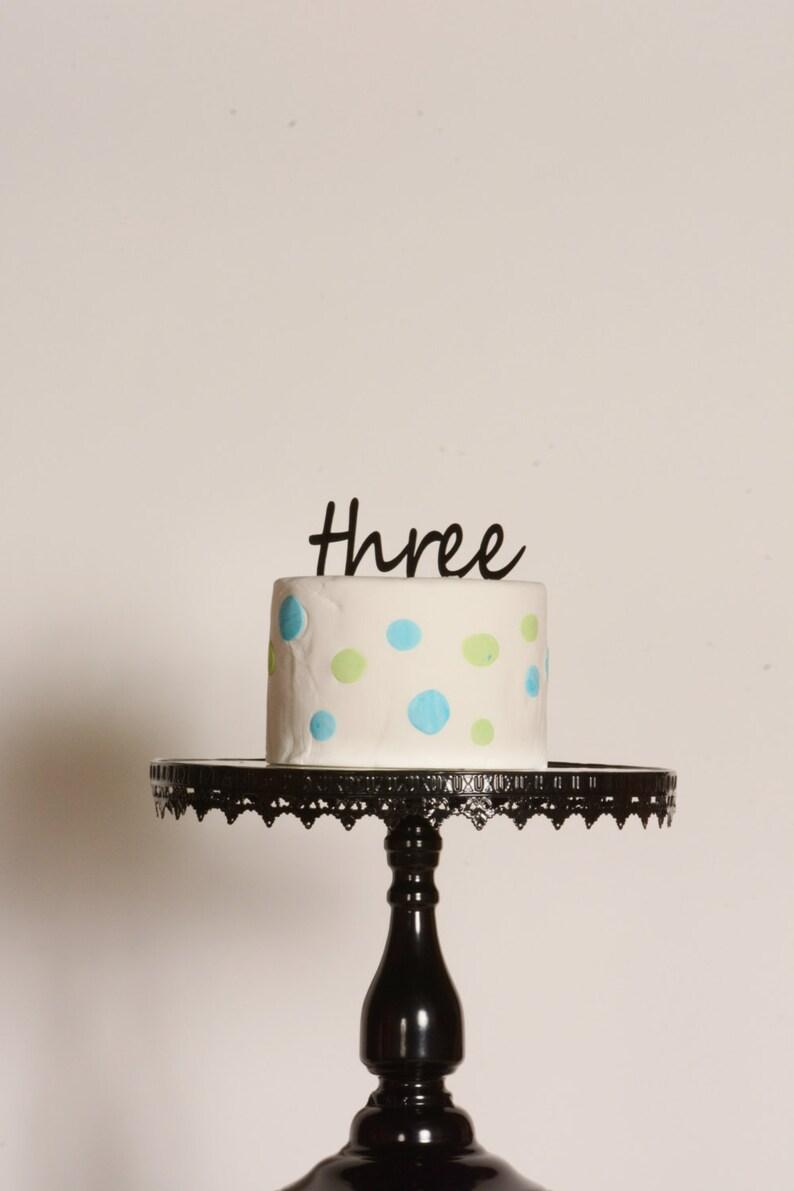 Third Birthday Cake Topper Acrylic 3rd