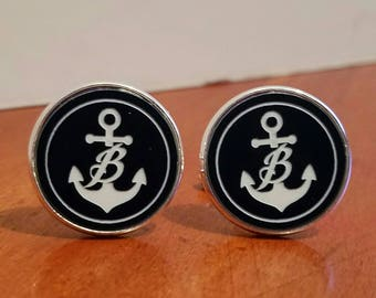 Custom anchor Cufflinks with initial Cufflinks custom cuff Links wedding Cufflinks anchor wedding Cufflinks anchor with initial cufflink