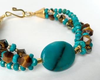 Turquoise, Tiger Eye, Vintage Swarovski Mink Crystal Bracelet