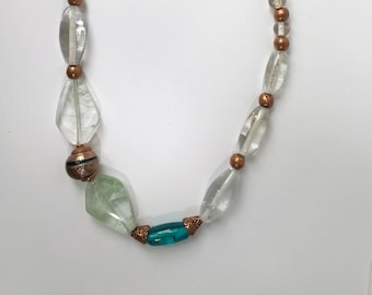 Vintage Green and Clear Glass Bead and Copper Necklace