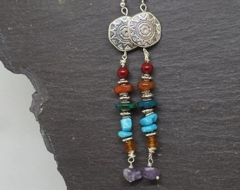Long bohemian earrings, gypsy boho earrings, bohemian earrings, statement earrings, long earrings, bohemian jewelry, long dangle earrings.