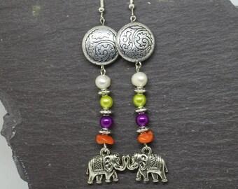 Elephant earrings, ethnic earrings, boho earrings,  statement earrings, elephant jewellery, bohemian earrings, tribal earrings.