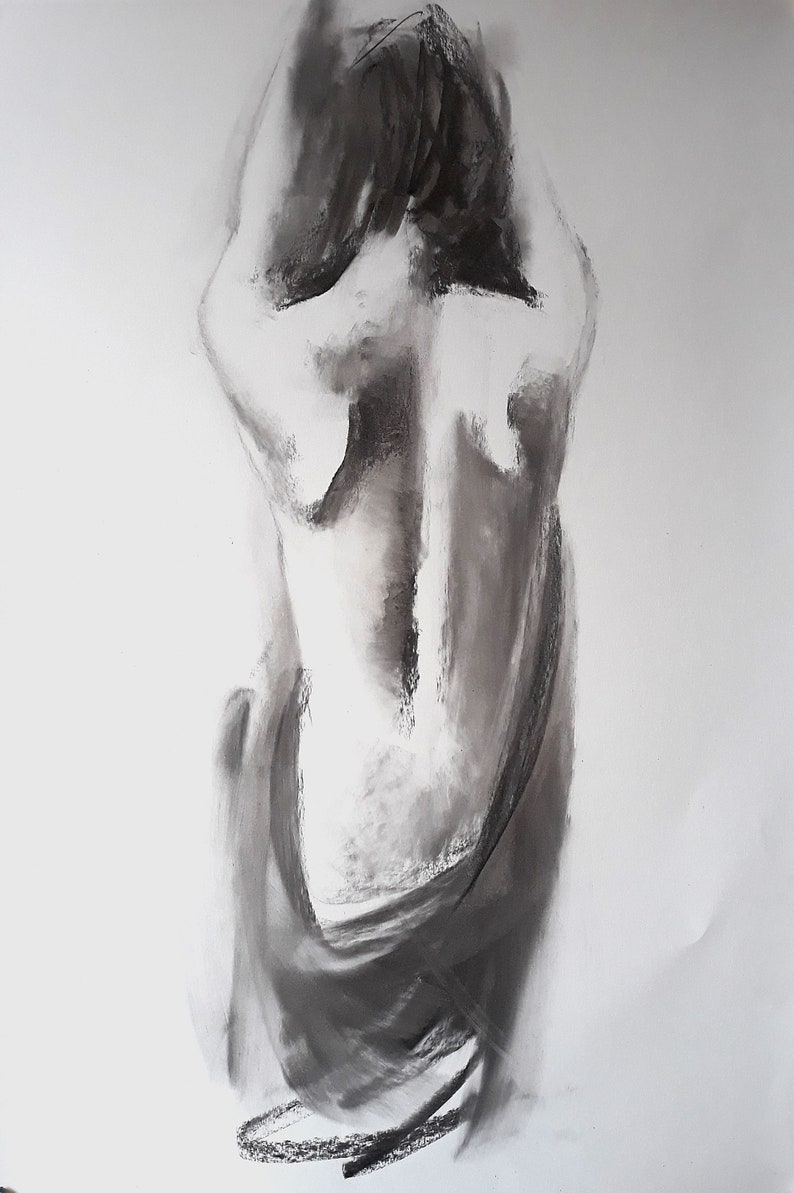 Figure drawing female figure large drawing black and white sensual female drawing females back 27 5x39 inches 100x70cm handmade alinalouka