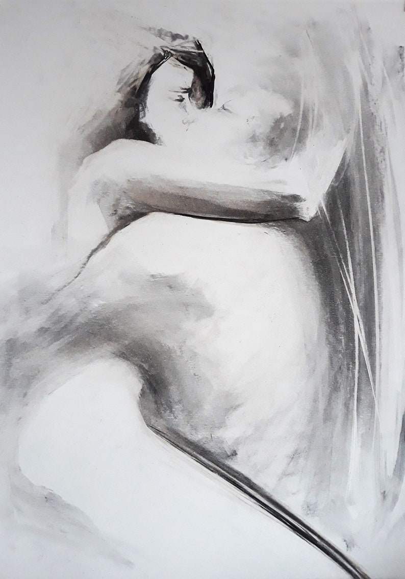 Figure drawing lovers drawing sensual couple drawing black and etsy