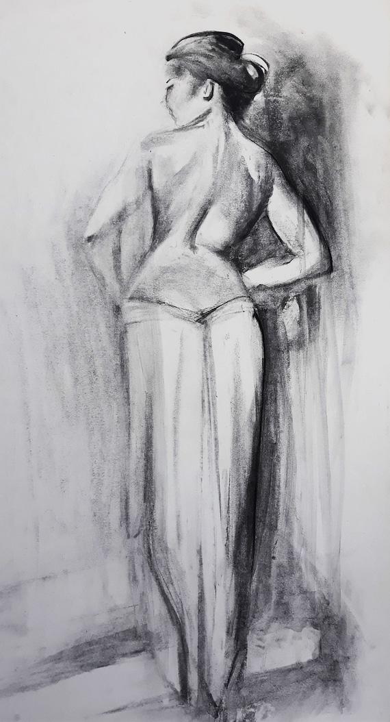 Dessin Au Fusain Dessin Sensuelle Femme Dessin Noir Et Blanc Femme Figure 35x70cm 14x275 Po Alinalouka à La Main