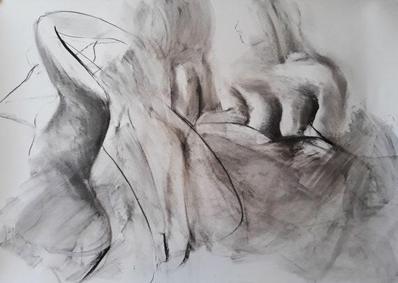 Dessin De Femme Grand Dessin Noir Et Blanc Figure Grand Art Charbon 275x39 Pouces 100x70cm Alinalouka Fait à La Main