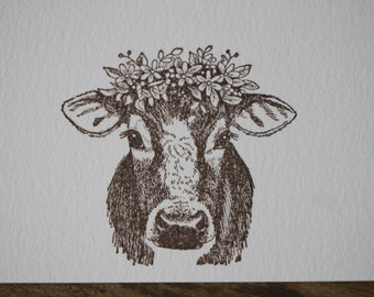Watercolor Shaggy Cow Note Cards~Cow in the Mountains Note Cards~Single Painted Highland Cow Greeting Card
