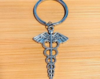 Custom Keychain 774 Doctor/'s Keychain Lg Caduceus Key Ring Caduceus Keychain Charm Keychain Initial Keychain Medical Symbol
