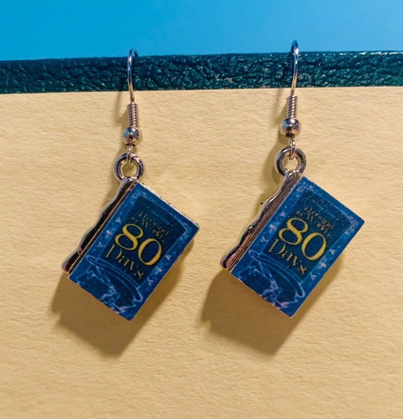 Book Charm Earrings Around the World in 80 Days Jules Verne Earrings Jules Verne Book Earrings