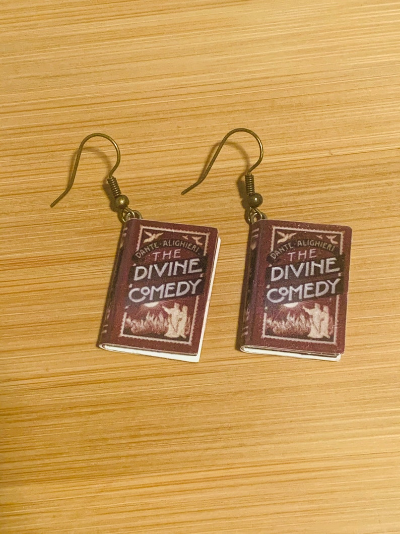 Dante Alighieri Book Earrings Book Charm Earrings Divine Comedy Earrings The Divine Comedy
