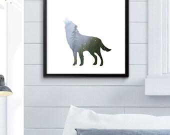Husky Print, Husky Art, Husky Decor, Wolf Print, Wolf Photograph, Wolf Silhouette, Wolf Photo, Wolf Decor, Children's Decor, Children's Room