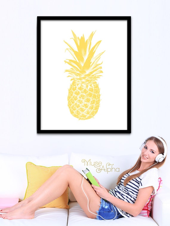Pineapple Yellow Minimalist Poster, Yellow Pineapple Art, Printable Yellow Digital Art, Modern Pineapple, Yellow Fruit Printable, Fruit Art
