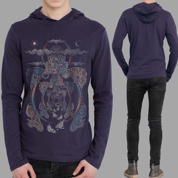 Psychedelic Men's Long sleeve shirt - YOGABHOGA - Sacred Geometry. Glow in the Dark shirt. Buddha shirt. festival hoodie. spiritual clothing jLyJD8TR