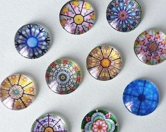 10 Beautiful Blue Pottery Flowers Cabochons Mixed Round Glass Flat Back Crafts