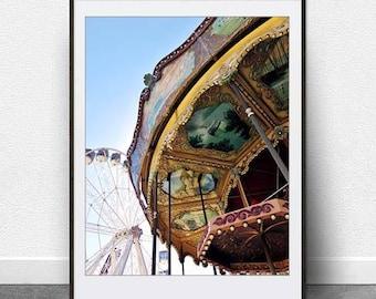 Carousel, DIGITAL Download, Printable Art, Photography, Carnival Art, Ferris Wheel, Merry Go Round, Vintage, Retro, Fine Art, Nursery Decor