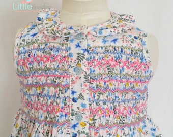 Gorgeous blue floral pinwale corduroy hand smocked dress