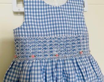 Beautiful light blue checked smocked girls dress