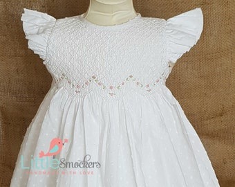 Spot voile cotton hand smocked and embroidered baby dress