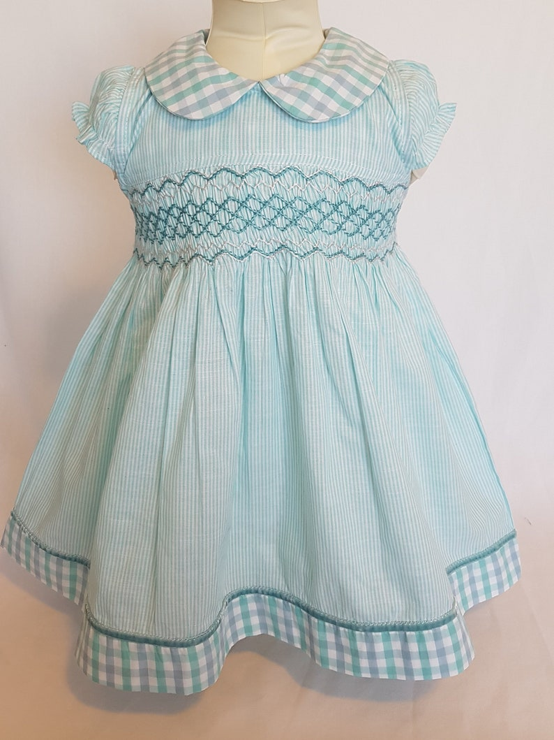 Beautiful Light Green Hand Smocked Baby Dress With Peter Pan Etsy
