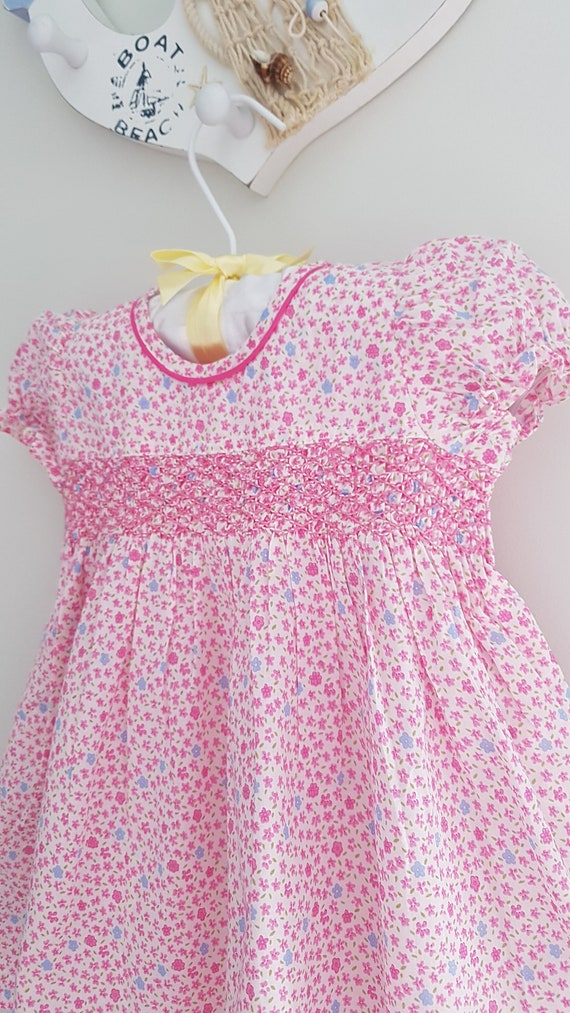 Beautiful Pink Floral Hand Smocked Dress