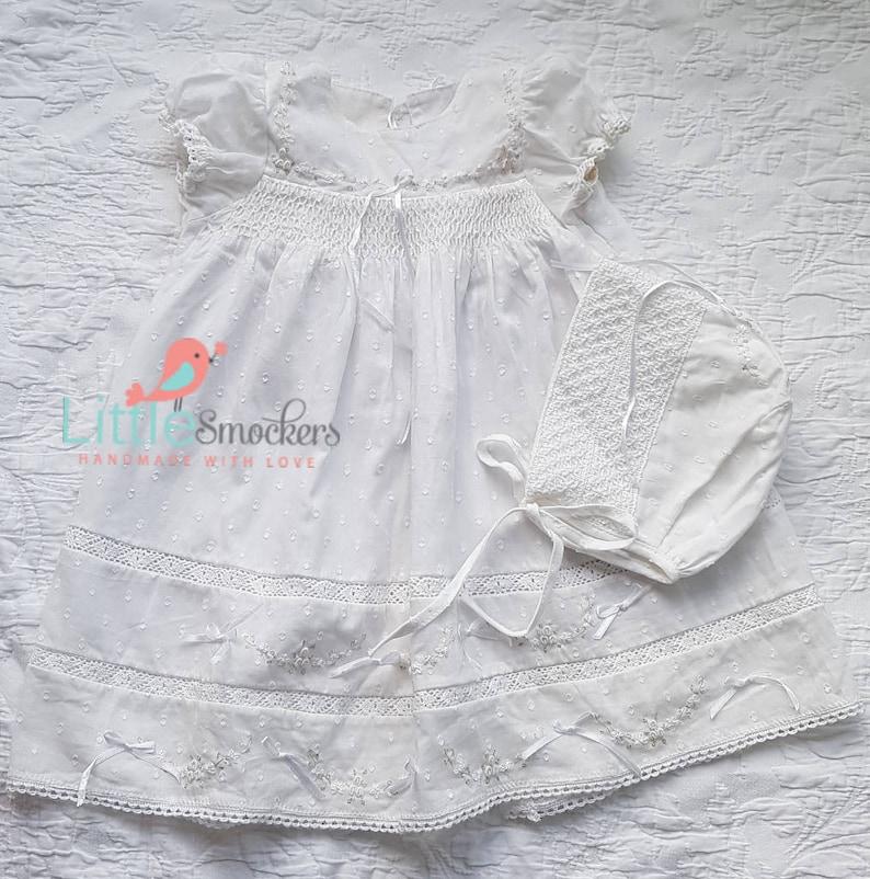 6ff77709b2aa Gorgeous Hand smocked baptism/ take home dress size 0-3 | Etsy