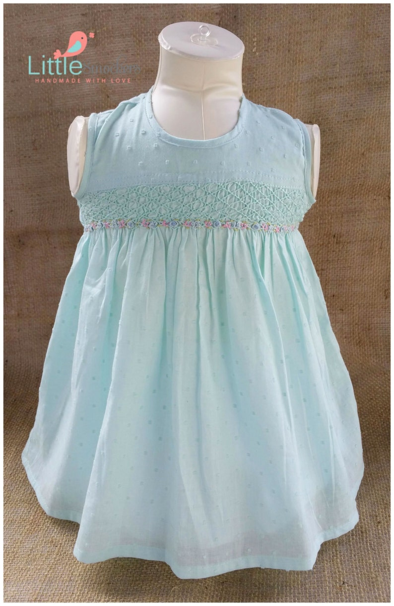 eb986afd2787 Hail spot voile hand smocked dress in light green size 6-9 | Etsy