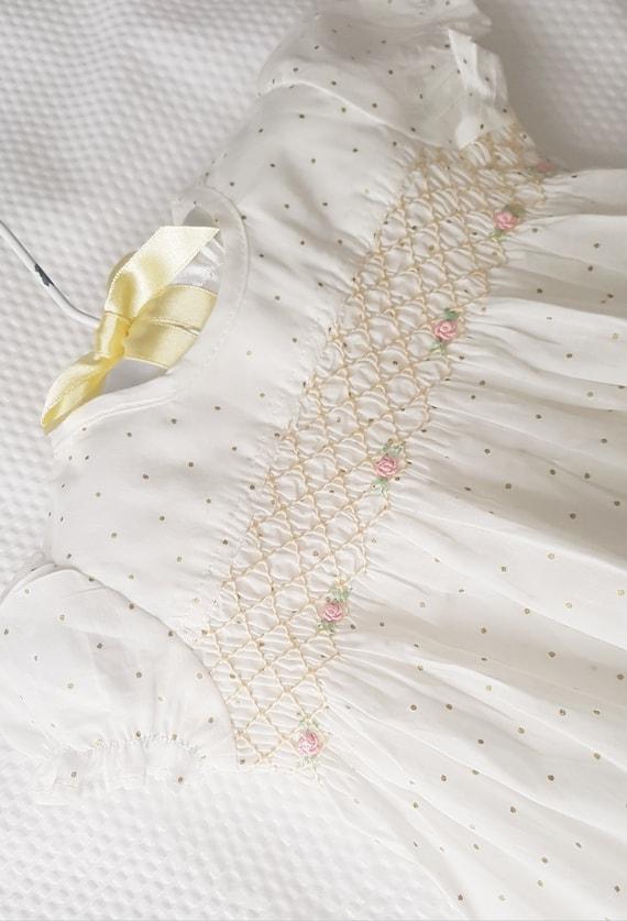 5bf3eef1f28c Beautiful hand smocked white polka dot baby dress size 0-3 | Etsy