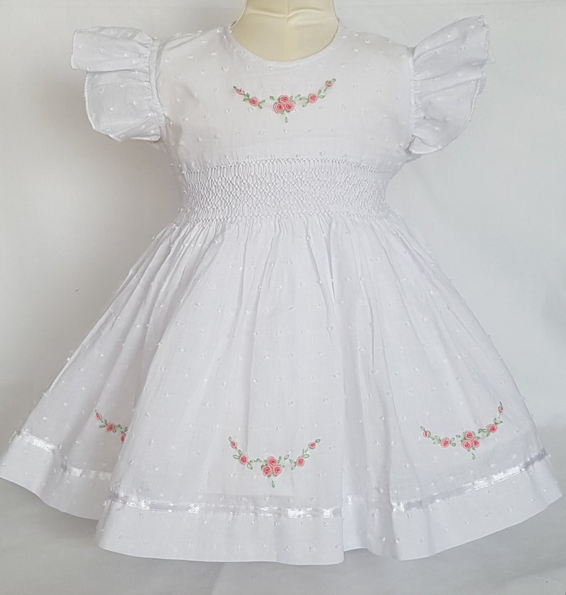 6022c1df1a8b Gorgeous spot voile white hand smocked and embroidered dress | Etsy