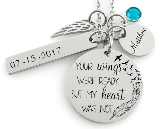 Your Wings Were Ready Memorial Christmas Ornament Sympathy Gift W Angel Wing Charm